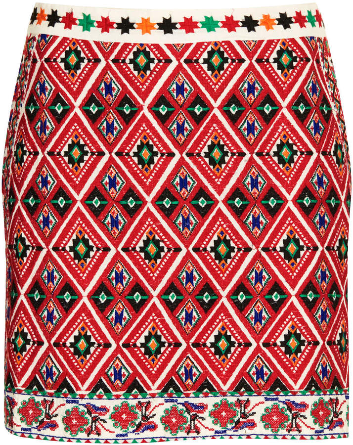 Topshop Embroidered a-line skirt