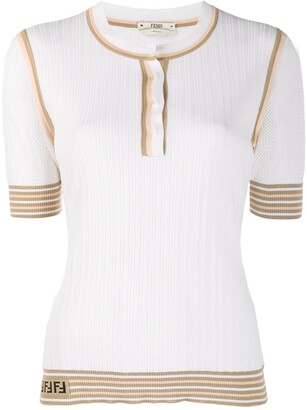 Fendi Stripe Trim Knitted Top