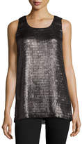 Armani Collezioni Metallic Net Jersey Scoop-Neck Tank, Pewter