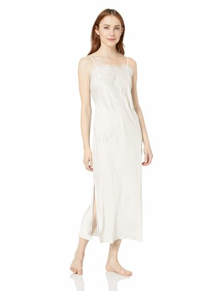 Natori Women's Solid Satin Gown with Lace