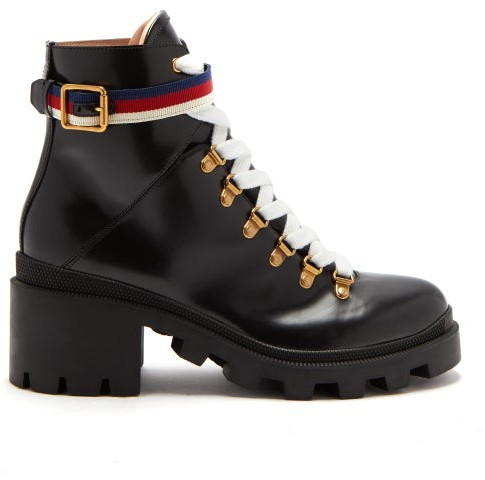 Gucci Trip Leather Boots - Womens - Black