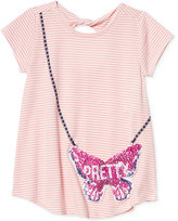 Jessica Simpson Purse Pocket Striped Keyhole T-Shirt, Big Girls (7-16)