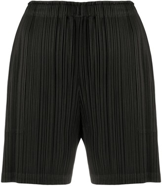 Pleats Please Issey Miyake Micro-Pleated High-Waist Shorts