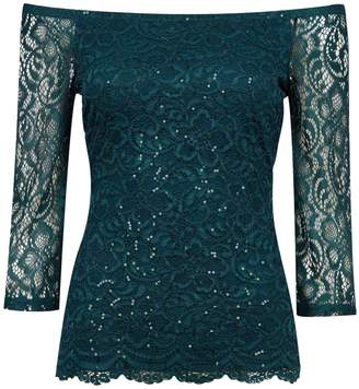 Dorothy Perkins Womens Green Sequin Embellished Lace Bardot Top, Green