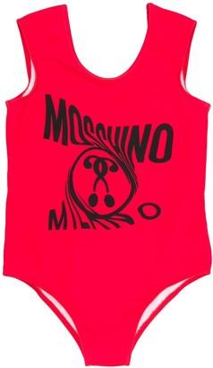 MOSCHINO BAMBINO Twist Logo Print Swimsuit