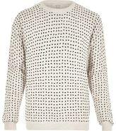 River Island MensEcru half spot print sweatshirt