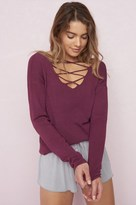 Garage Reversible Front Lace-Up Sweater