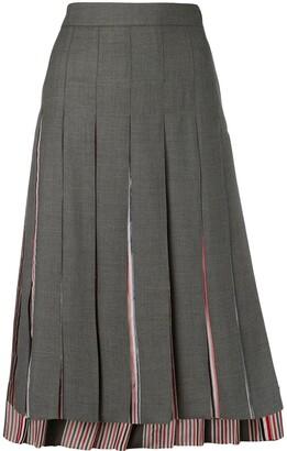 Thom Browne Super 120s Combo Pleat Skirt