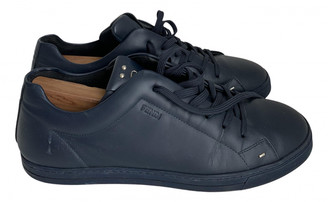 Fendi Navy Leather Trainers