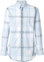 Thom Browne Long Sleeve Button Down Shirt In Large Blue And Grey Check Poplin