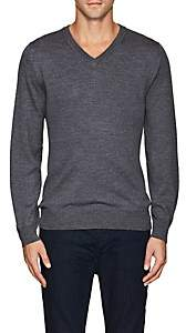 Luciano Barbera MEN'S WOOL V-NECK SWEATER - GRAY SIZE M