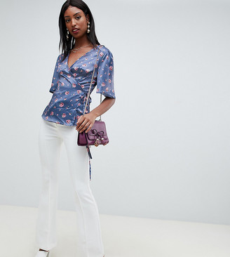 Fashion Union Tall tall wrap top in romantic floral