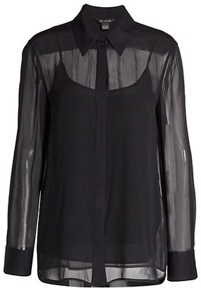 St. John Luxe Silk Georgette Blouse & Camisole