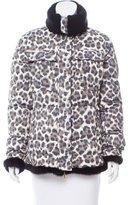 Les Copains Fur Trimmed Leopard Print Coat