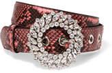 Miu Miu Crystal-embellished Python Belt - Pink