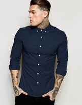 Asos Skinny Shirt in Navy Twill with Long Sleeves