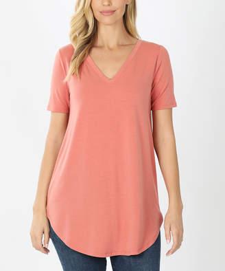 Ash Zenana Women's Tee Shirts  Rose Round-Hem V-Neck Tee - Women & Plus