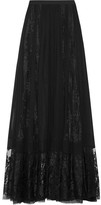 Elie Saab Lace-paneled Silk-chiffon Maxi Skirt - Black