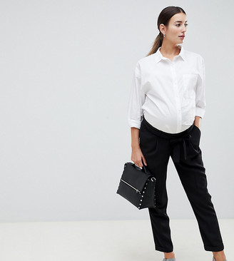 Asos DESIGN Maternity Woven Peg Trousers with Obi Tie-Black
