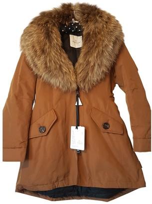 Moncler Fur Hood Brown Fur Coat for Women