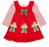 Nannette Red Gingerbread Man Jumper & Stripe Top - Infant Toddler & Girls
