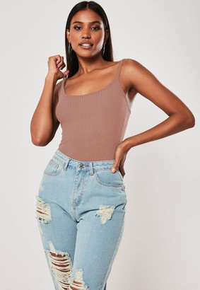 Missguided Rib Strappy Cami Bodysuit