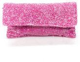 Moyna Bright Pink Beaded Small Fold Over Clutch Handbag