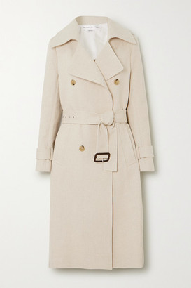 Victoria Beckham Cotton And Linen-blend Canvas Trench Coat - Ecru