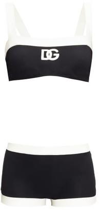 Dolce & Gabbana Two-tone Logo-print Silk-blend Bikini - Womens - Black