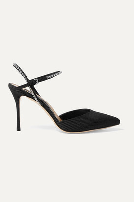Sergio Rossi Crystal-embellished Faille Slingback Pumps - Black