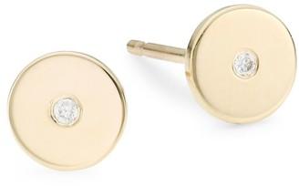 Zoë Chicco 14K Yellow Gold & Diamond Disc Earrings