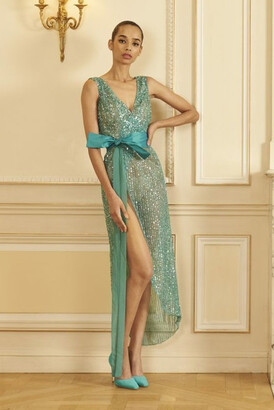 GEORGES HOBEIKA Sleeveless Beaded Tulle Slit Gown