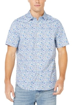 Nautica Men's Blue Sail Collection Floral Print Oxford Short Sleeve Shirt, Created for Macy's