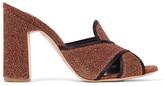 Rupert Sanderson Elaine Satin-trimmed Lurex Mules - Brick