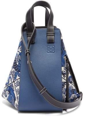 Loewe Hammock Small Bird-jacquard Leather Bag - Womens - Blue Multi