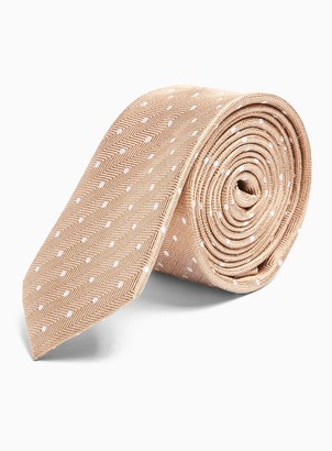 Topman Gold Herringbone Polka Dot Tie