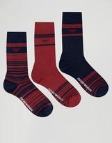 Emporio Armani 3 Pack Socks In Gift Box