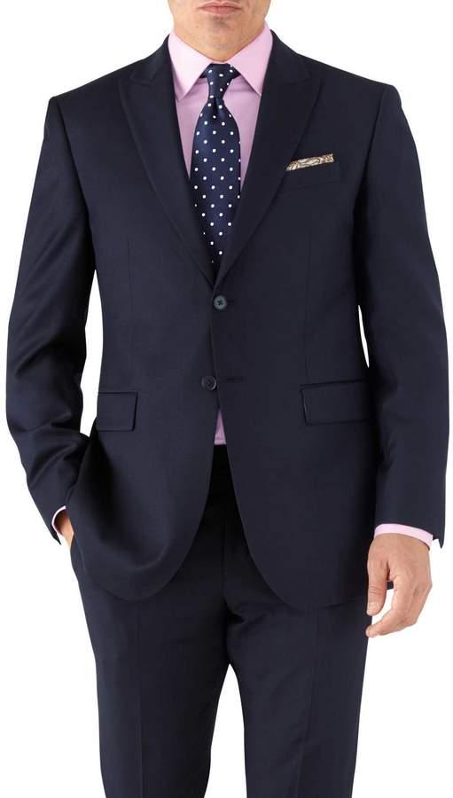 Charles Tyrwhitt Navy Classic Fit Peak Lapel Twill Business Suit Wool Jacket Size 38