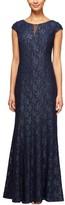 Alex Evenings Petite Women's Metallic Lace A-Line Gown