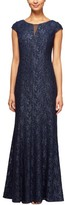 Alex Evenings Women's Metallic Lace A-Line Gown