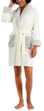 Charter Club Short Robe With Faux-Fur Trim, Created for Macy's