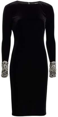 Badgley Mischka Long Sleeve Beaded Cuff Sheath Dress
