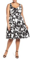 City Chic 'Summer Party' Print Fit & Flare Dress (Plus Size)