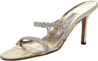 Manolo Blahnik Metallic Pale Gold Braided Leather Slide Sandals Size 37