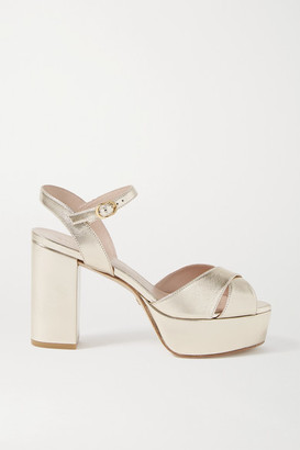 Stuart Weitzman Ivona Metallic Leather Sandals - Gold