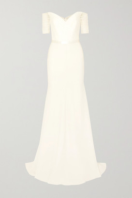 Jenny Packham Venus Off-the-shoulder Tulle And Cady Gown - Ivory
