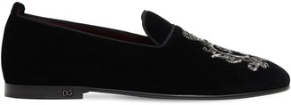 Dolce & Gabbana Young Pope Embroidered Velvet Loafers
