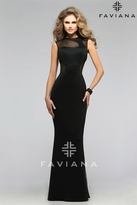 Faviana Illusion Cut-out Neoprene Long Evening Gown 7791