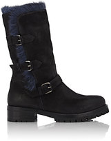 Sartore Women's Fur-Lined Mid-Calf Moto Boots-BLACK