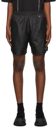 we11done Black Metallic Logo Shorts